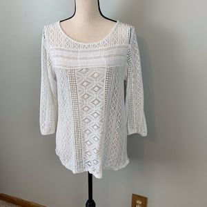 Lucky brand white lace top/size M